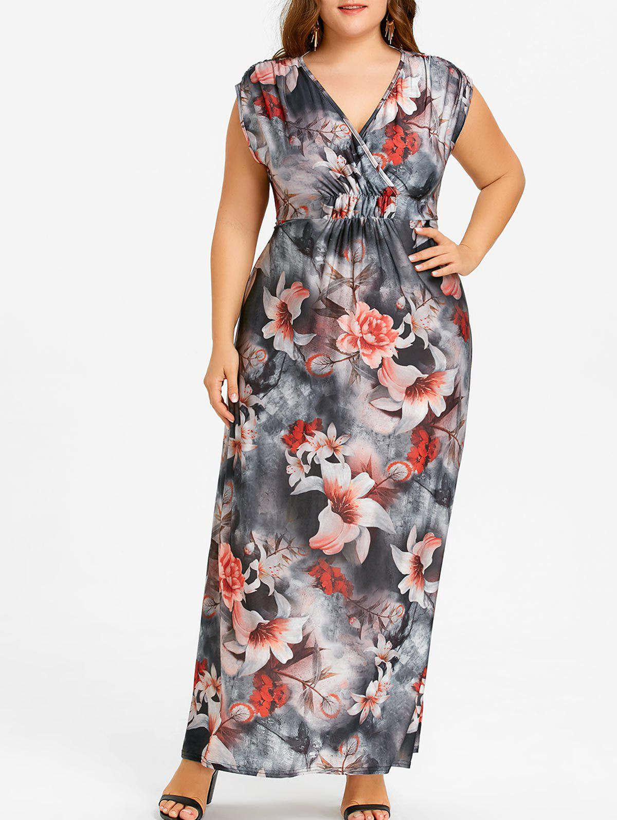 Fancy Plus Size Floral Beach Maxi V Neck Dress