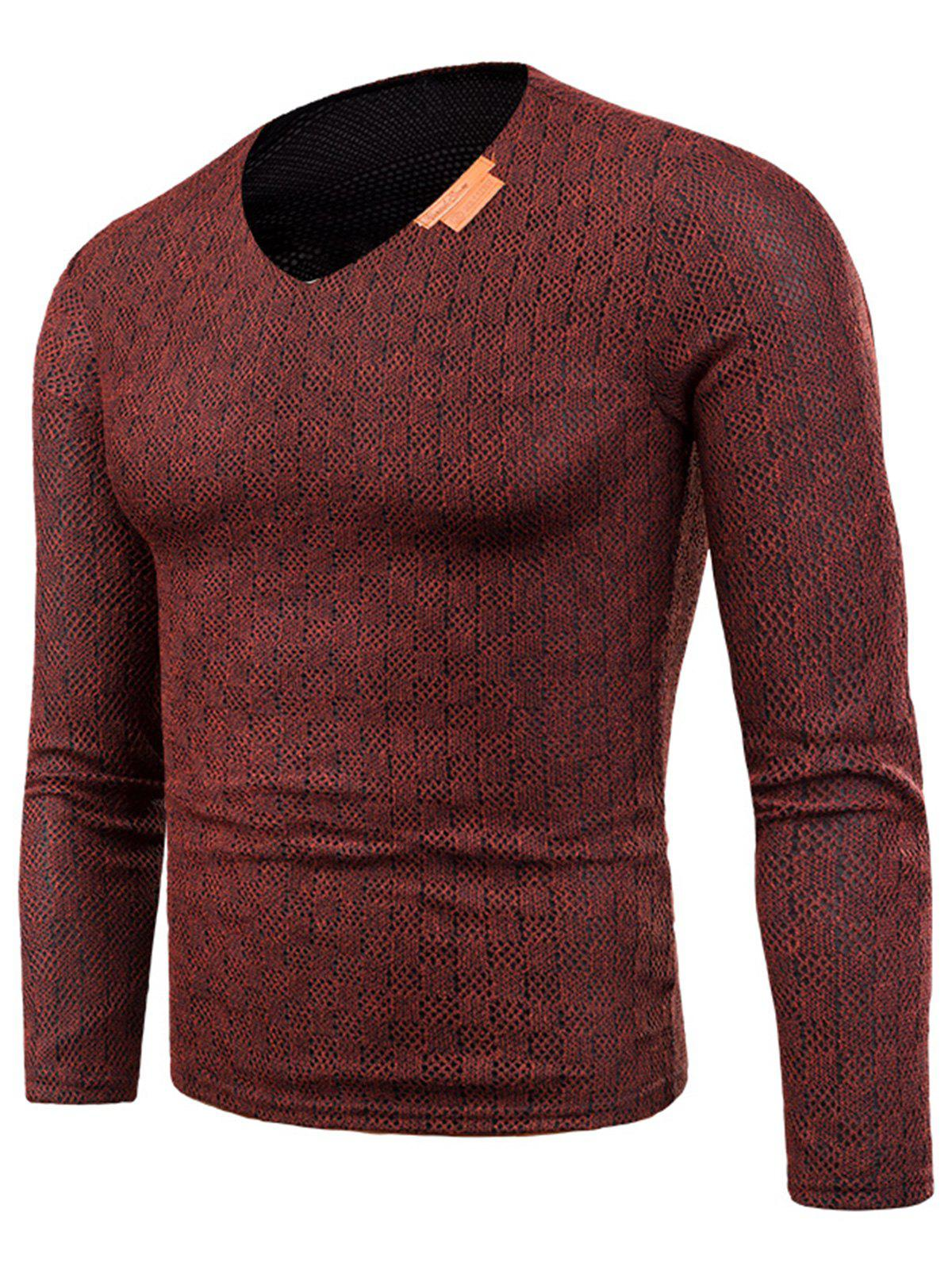 Fashion Knitted V Neck Long Sleeve Applique T-shirt
