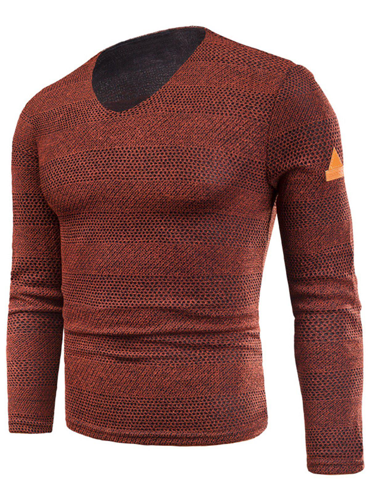 Fancy V Neck Long Sleeve Fleece Knitted T-shirt