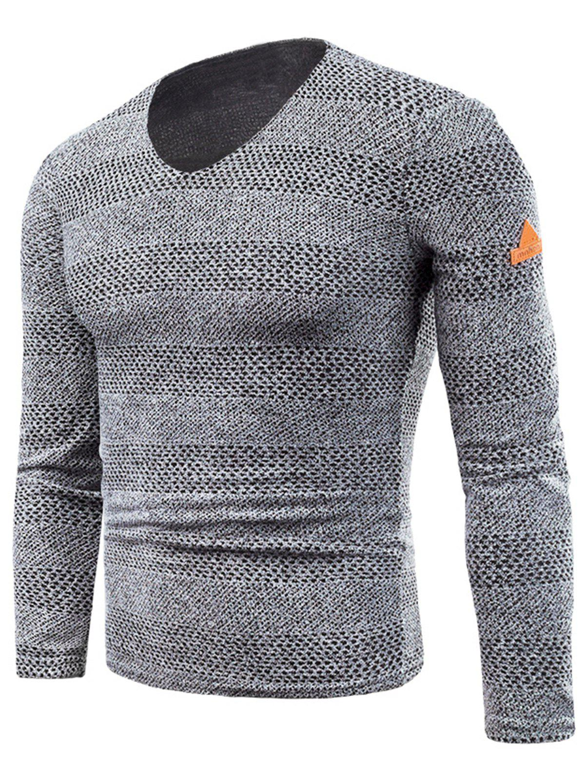 Outfits V Neck Long Sleeve Fleece Knitted T-shirt