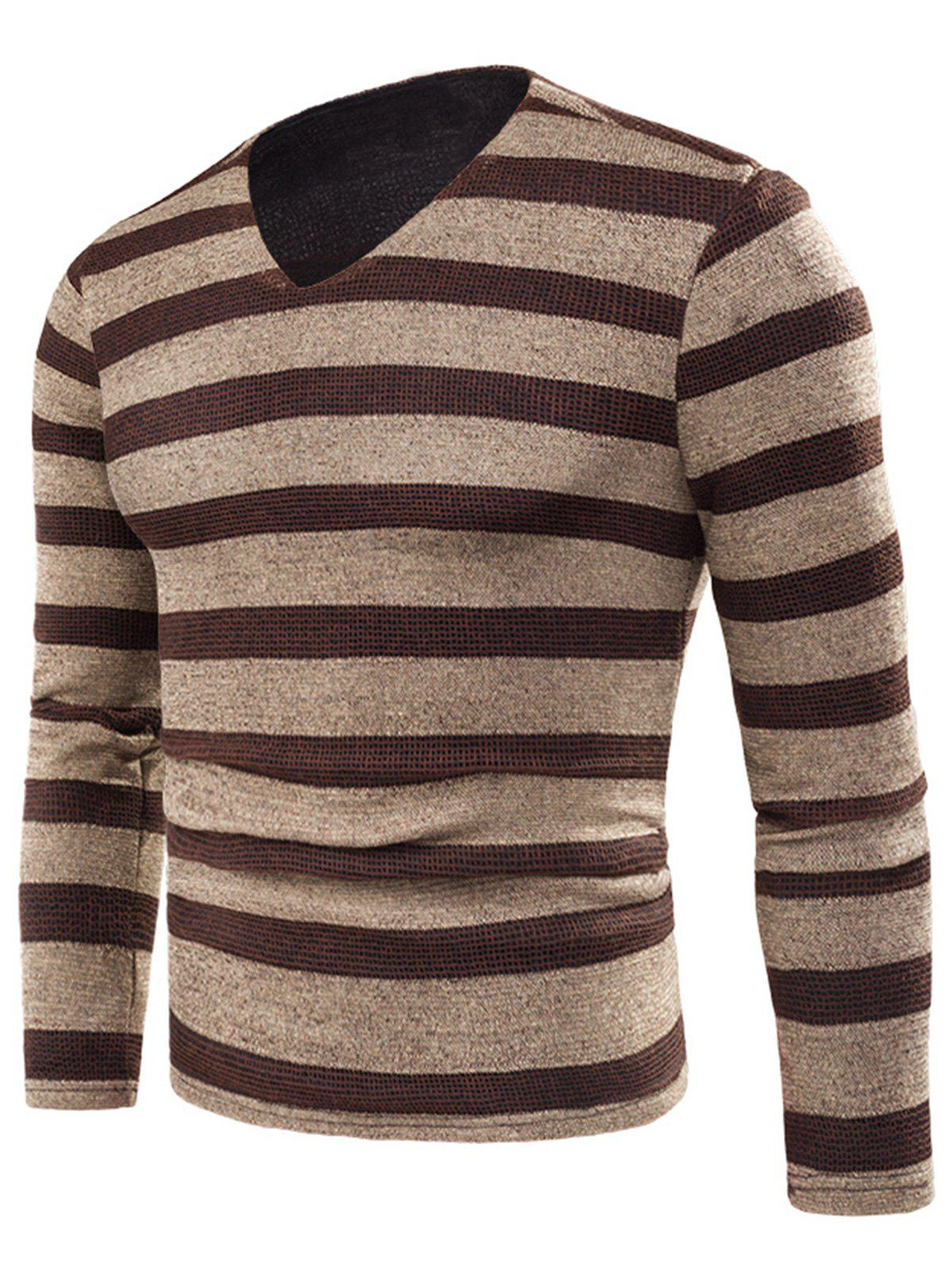 Unique V Neck Stripe Knitted Fleece T-shirt