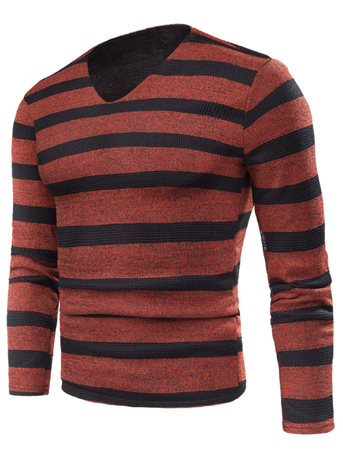 Fancy V Neck Stripe Knitted Fleece T-shirt