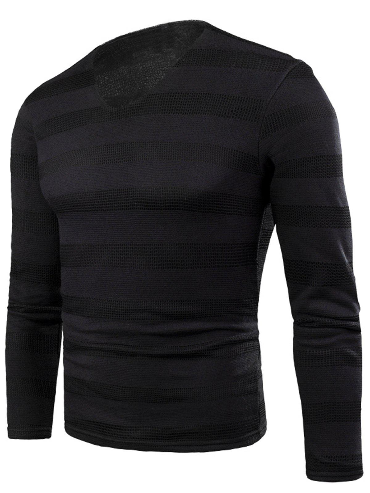 New V Neck Stripe Knitted Fleece T-shirt