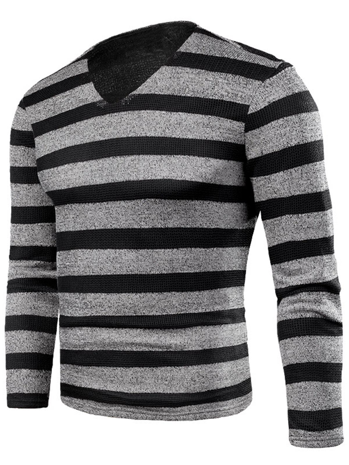Cheap V Neck Stripe Knitted Fleece T-shirt