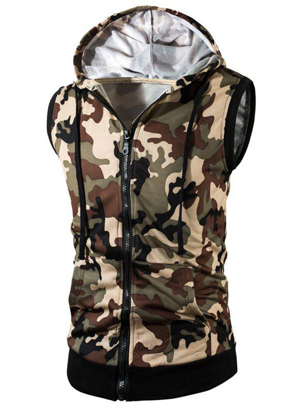 Online Kangaroo Pocket Zip Up Hooded Camouflage Vest