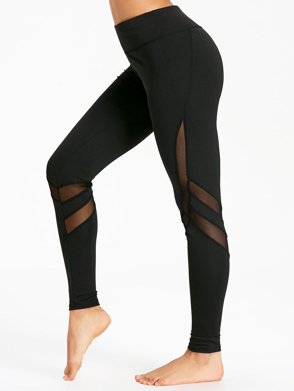 Unique High Rise Workout Leggings with Mesh Panel