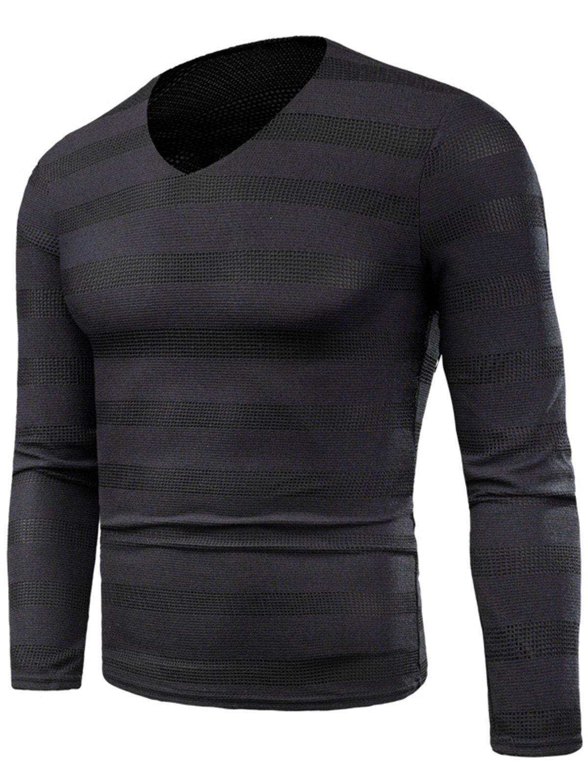 Sale Knitted V Neck Long Sleeve Stripe T-shirt