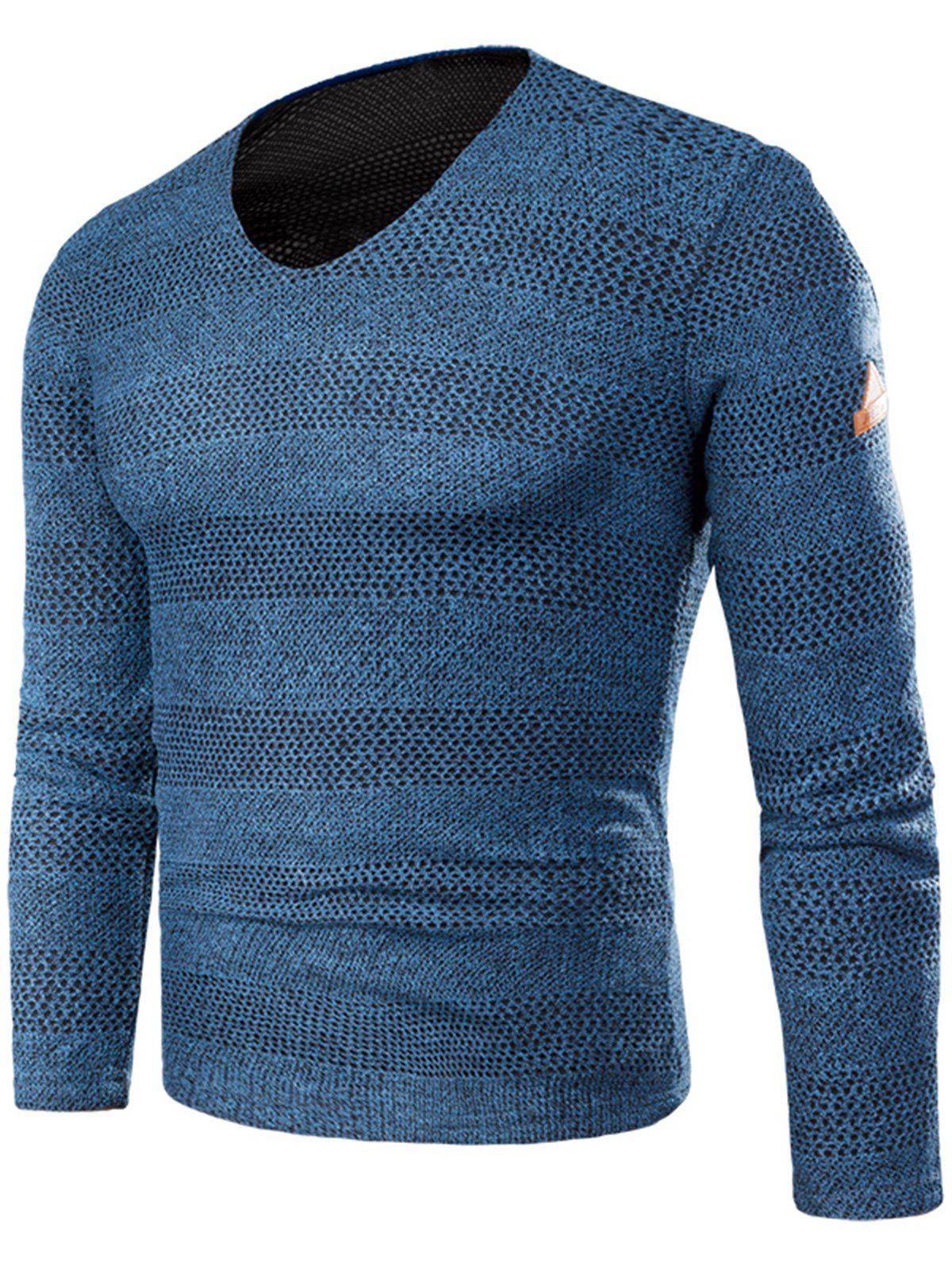 Sale V Neck Long Sleeve Knitted T-shirt