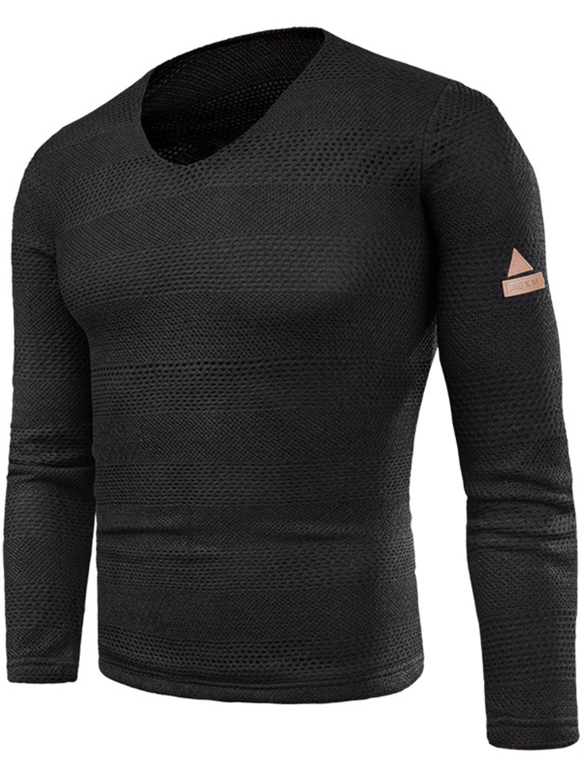 Shops V Neck Long Sleeve Knitted T-shirt