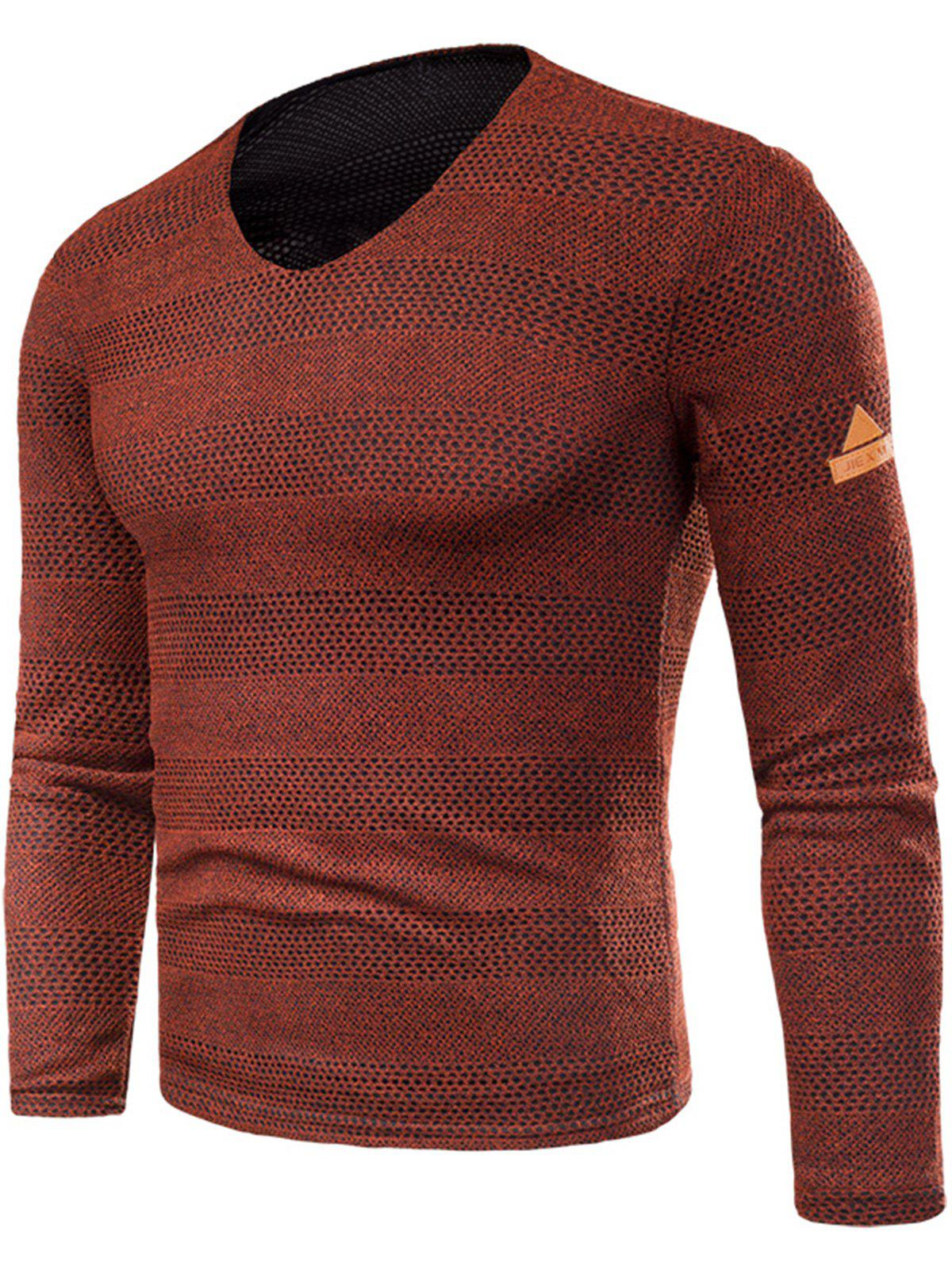Cheap V Neck Long Sleeve Knitted T-shirt