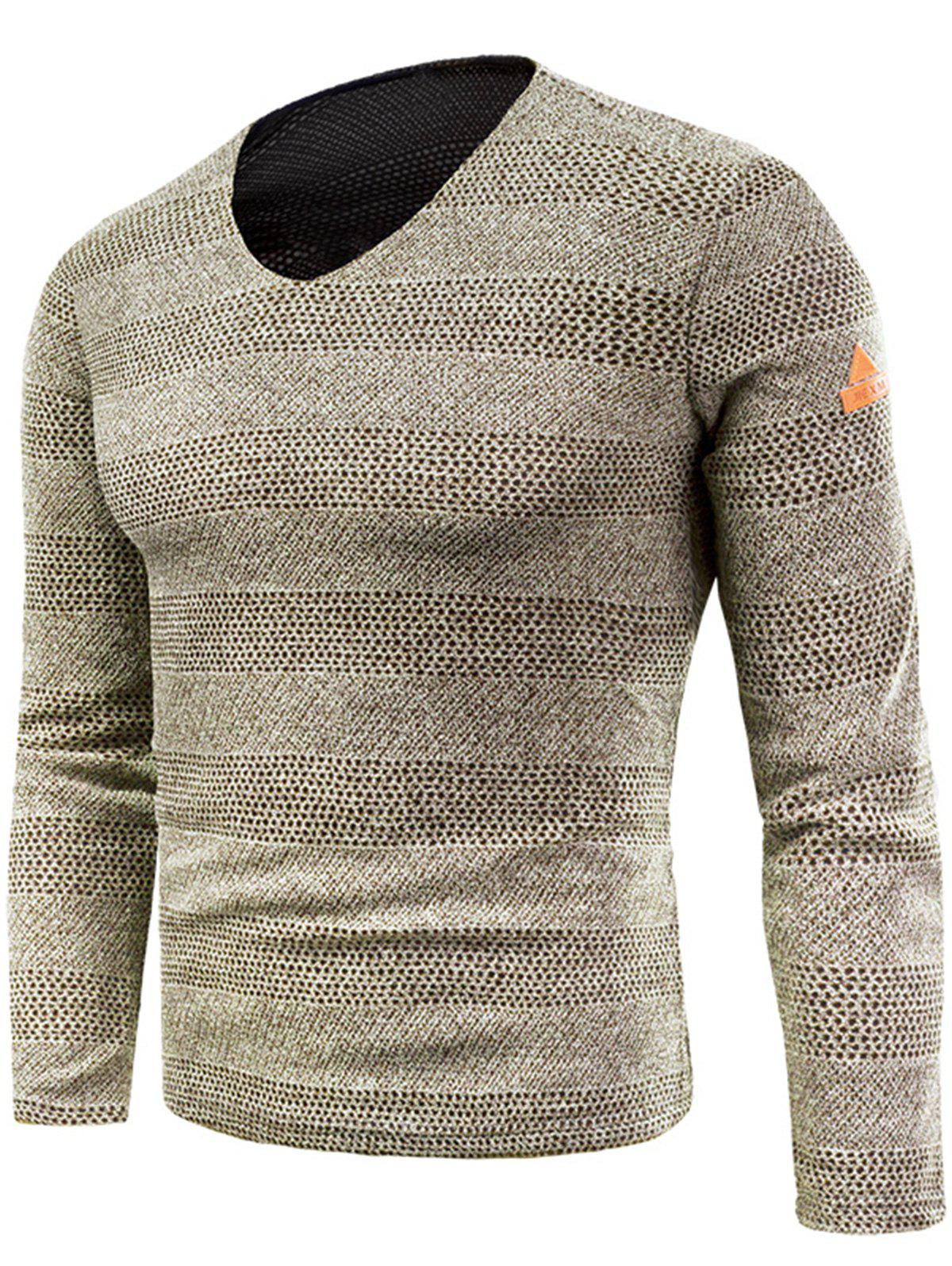 Trendy V Neck Long Sleeve Knitted T-shirt