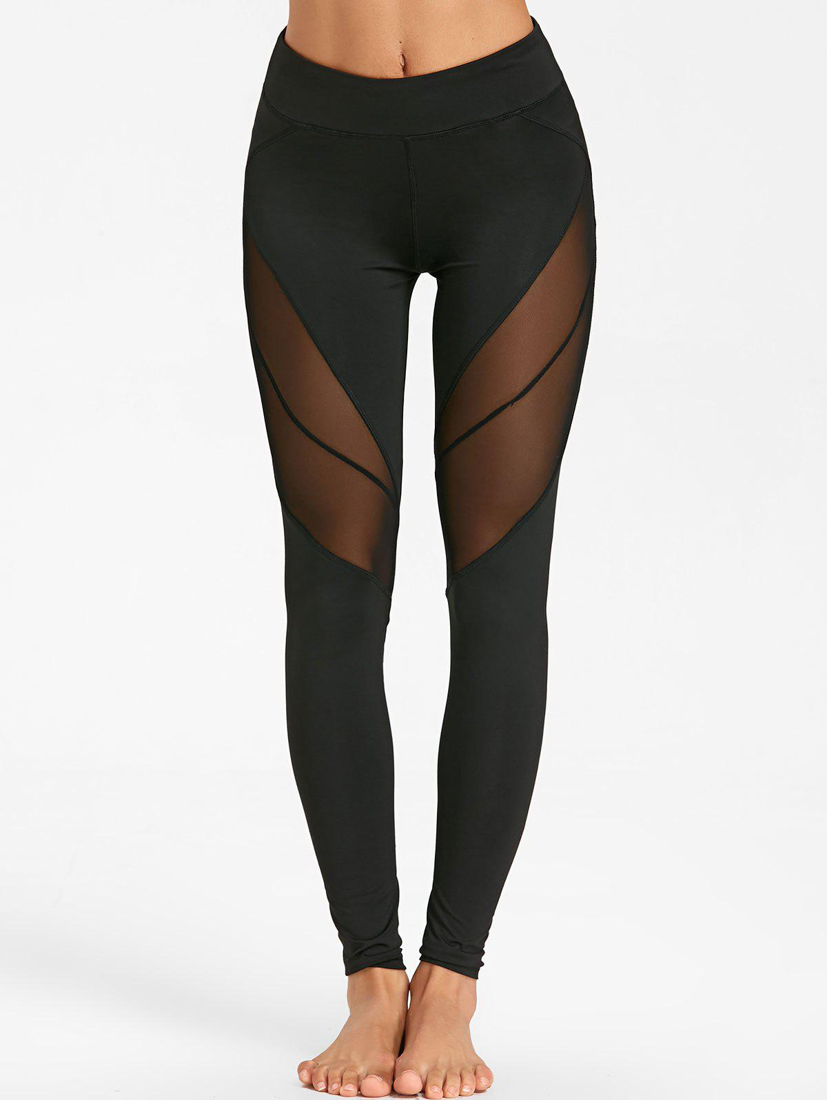 Outfits Slim See Through Mesh Panel Yoga Tights