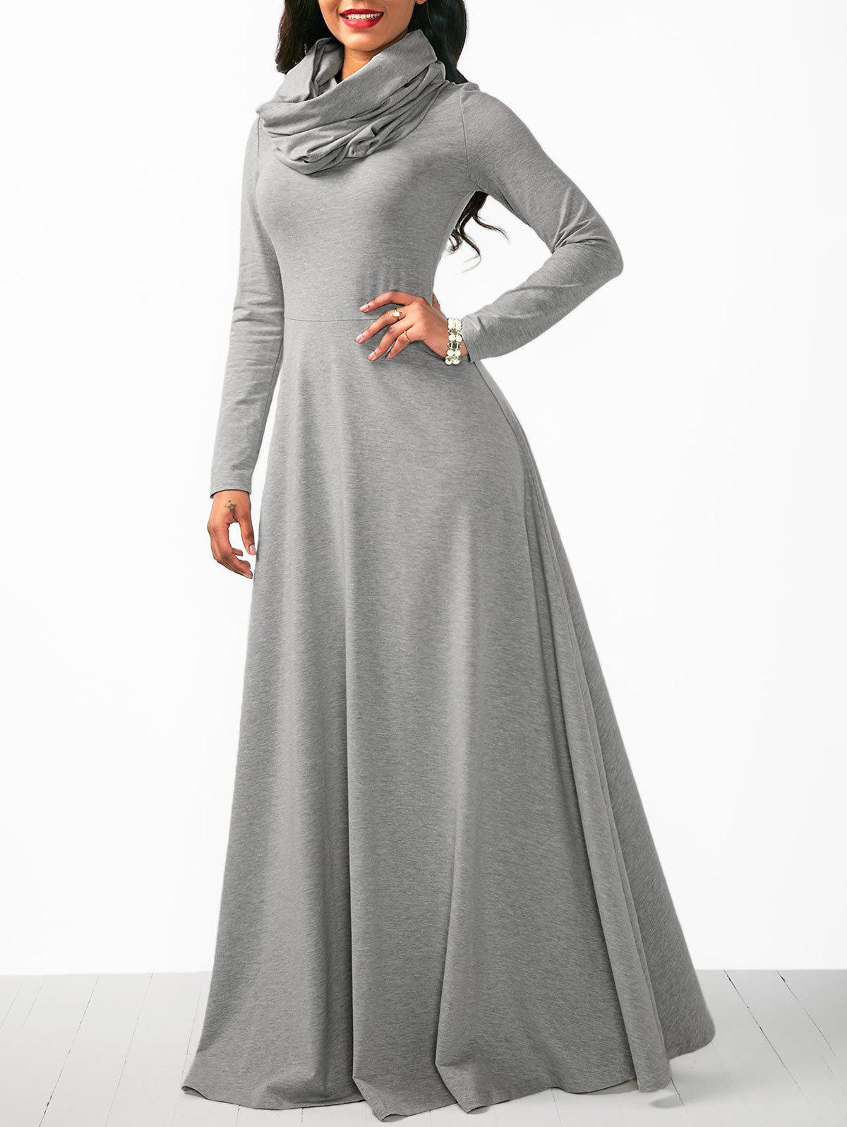 Sale Maxi Long Sleeve Cowl Neck Dress