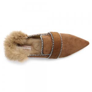 Faux Fur Pointed Toe Outdoor Slippers -