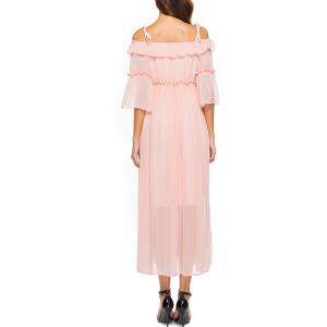 Spaghetti Strap Off The Shoulder Chiffon Dress -