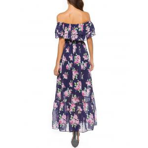 Off The Shoulder Floral Print Bohemian Dress -