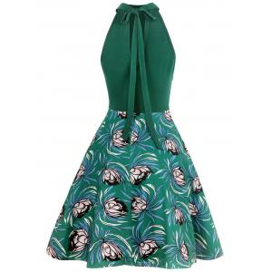 Sleeveless Cut Out Floral Print Bowknot Dress -