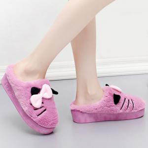 Fuzzy Slip-on Design Bowknot Slippers -