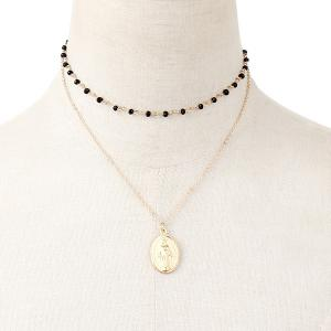 Virgin Mary Layered Pendant Engraved Necklace -