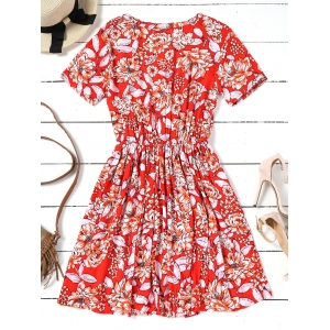 Floral Half Buttoned Short Sleeve Mini Dress -