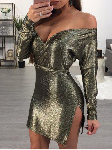 Hot Off The Shoulder Sparkly Club Dress