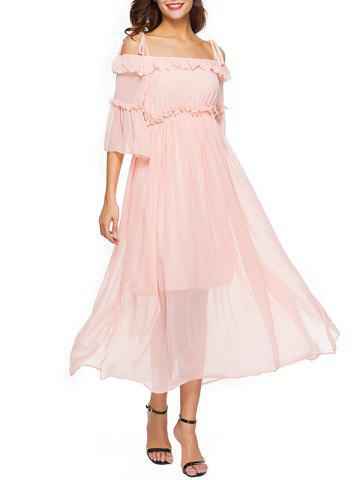 Trendy Spaghetti Strap Off The Shoulder Chiffon Dress