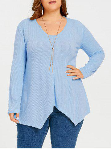 Outfit Plus Size Asymmetric Ribbed Tunic Sweater