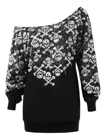 Trendy Plus Size Skew Collar Skulls Sweatshirt
