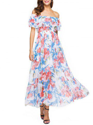 Discount Off The Shoulder Floral Bohemian Dress