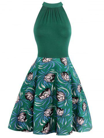 Shop Sleeveless Cut Out Floral Print Bowknot Dress
