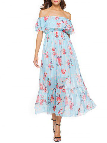 Latest Short Sleeve Floral Print Chiffon Dress