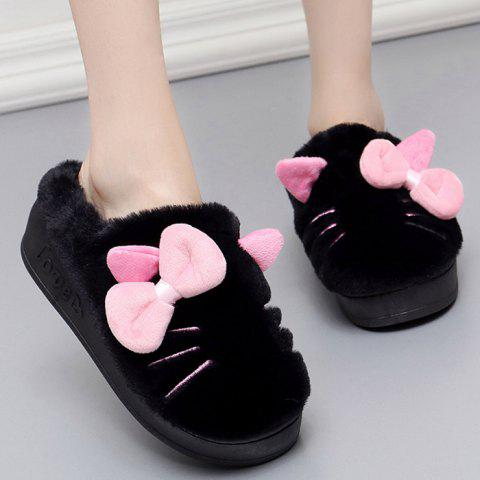 New Fuzzy Slip-on Design Bowknot Slippers