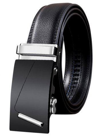 Online Metal Bar Decorated Automatic Buckle Faux Leather Belt
