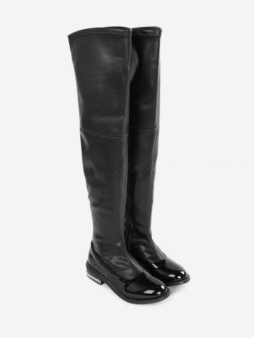 Curb Chain Embellished Over the Knee Boots