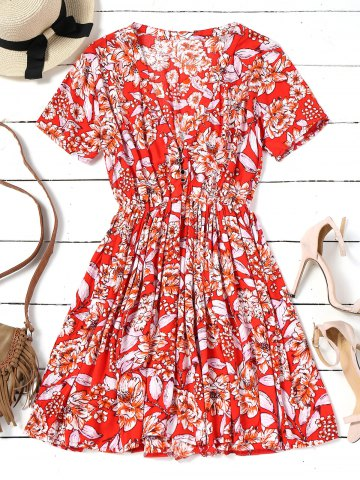 Chic Floral Half Buttoned Short Sleeve Mini Dress