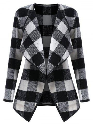 Affordable Plus Size Plaid Drape Coat