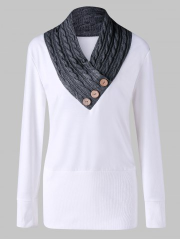 Trendy Cable Knit Panel Plus Size Tunic Sweatshirt