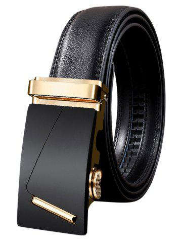 Shop Metal Bar Decorated Automatic Buckle Faux Leather Belt