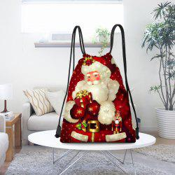 Santa Claus Pattern Drawstring Candy Bag Storage Bag -