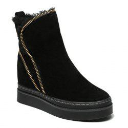 Zip Embellished Fold Over Short Boots -