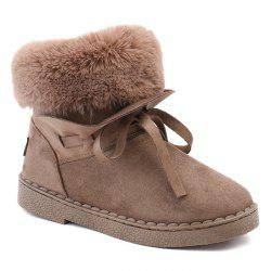 Whipstitching Low Heel Bowknot Snow Boots -