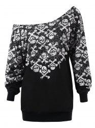 Plus Size Skew Collar Skulls Sweatshirt -