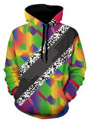 Kangaroo Pocket Pullover Colorful Geometric Hoodie -