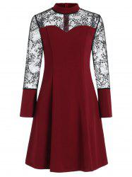 Bell Sleeve High Neck Lace Panel Dress -