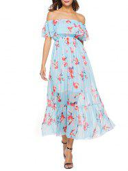 Short Sleeve Floral Print Chiffon Dress -