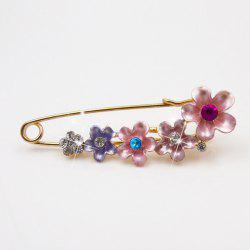 Faux Crystal Flower Decorated Brooch -