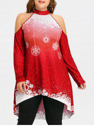 Plus Size High Low Cold Shoulder Christmas T-shirt -