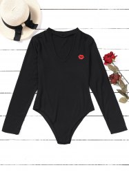 Choker Lip Embroidered Patches Bodysuit -