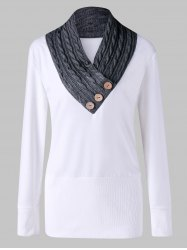 Cable Knit Panel Plus Size Tunic Sweatshirt -