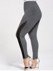 Plus Size Skinny Mesh Panel Leggings -